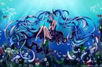 Обои Vocaloid Miku Hatsune / Вокалоид Мику Хацунэ под водой среди рыб и медуз, by WillyWonka2703