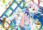 Обои Alice in Wonderland / Алиса в Стране чудес с кроличьими ушками в стиле аниме, by chinomaron