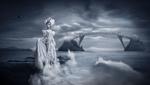 Обои Девушка в белом наряде стоит у моря на фоне летающих орлов и фантастического моста между скал, на котором сидят цапли