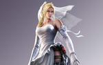Обои Nina Williams / Нина Уильямс свадебном платье и оружии на бедре, из игры Street Fighter X Tekken / Уличный Боец Х Теккен