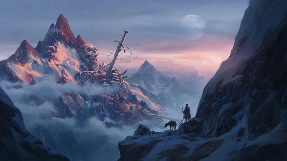 Обои для рабочего стола Пастух с овцой увидел высоко в горах скелет гиганта, пронзенного мечом, by Jinho Bae (© Romi),Добавлено: 01.02.2018 09:00:16