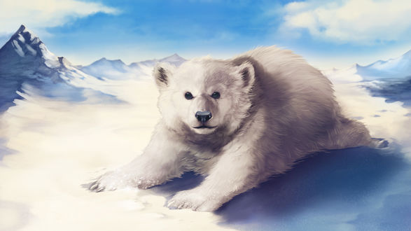 Обои для рабочего стола Белый мишка разлегся на снегу, by RogueLiger (© Мася-тян),Добавлено: 08.02.2018 00:32:16
