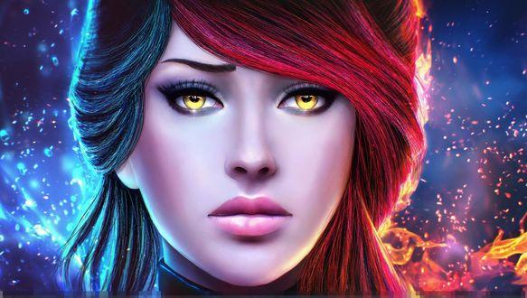 Обои для рабочего стола Портрет девушки с желтыми глазами и разноцветными волосами на фоне стихий огня и воды, by MagicnaAnavi (© ASSUR),Добавлено: 14.02.2018 09:18:54