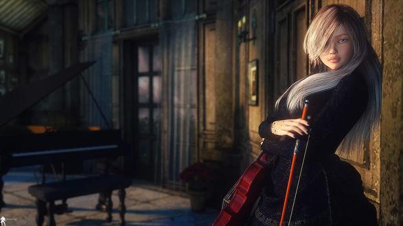 Обои для рабочего стола Девушка со скрипкой, by LaMuserie (© ASSUR),Добавлено: 23.02.2018 10:24:48