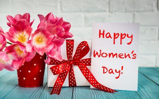 Конкурсная работа Букет розовых тюльпанов в ведерке, подарок и открытка с надписью (Happy Womens Day! / Счастливого женского дня) на голубом столе