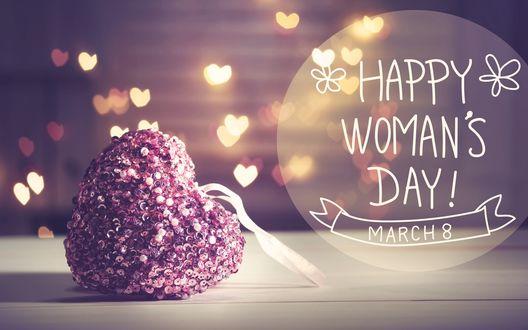 Конкурсная работа Сердечко лежит рядом с фразой 8 march, Happy Womans day / 8 марта, Международный женский день на фоне бликов