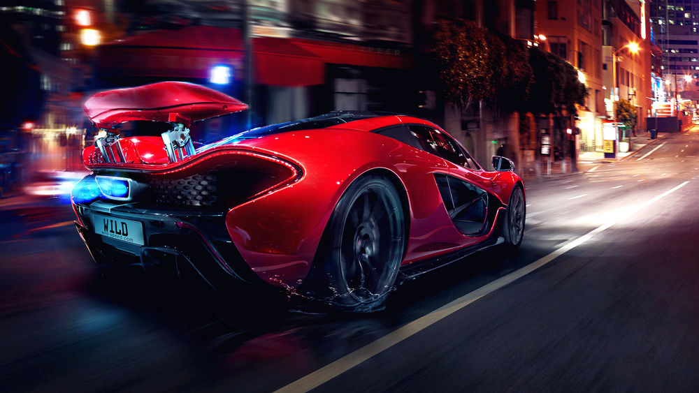 Обои для рабочего стола McLaren P1 / Макларен P1 несется по ночному городу, by Wild-Speed