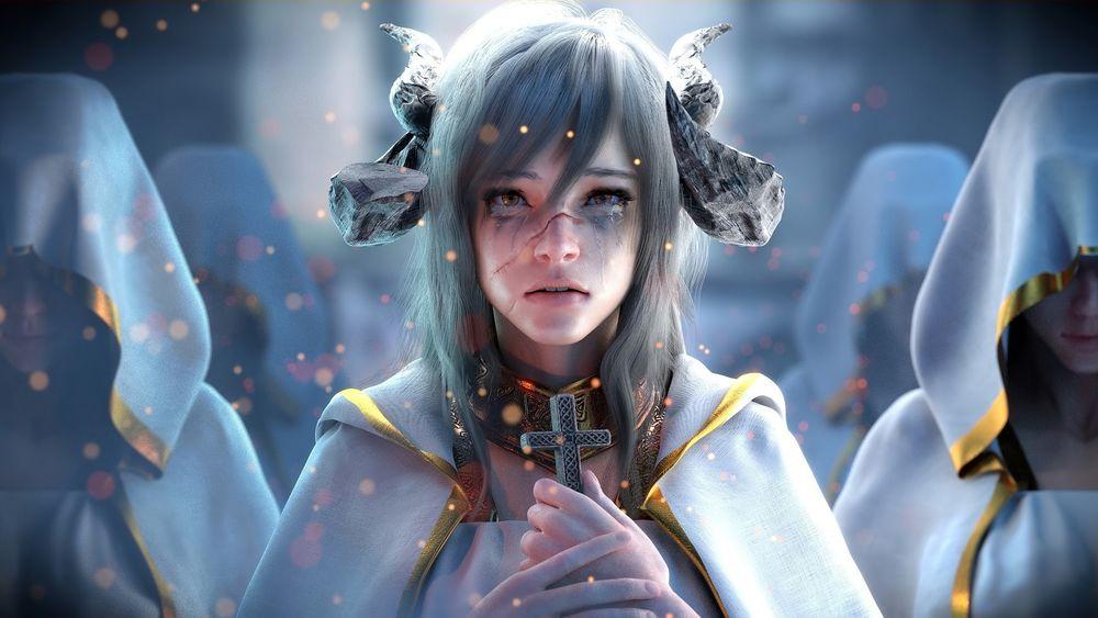 Обои для рабочего стола Девушка-демон со слезами на глазах и шрамами на лице, ставшая священником, by Jay Choi