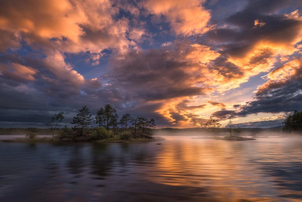 Обои для рабочего стола Лето на озере Ringerike, Norway / Ringerike, Норвегия, фотограф Ole Henrik Skjelstad