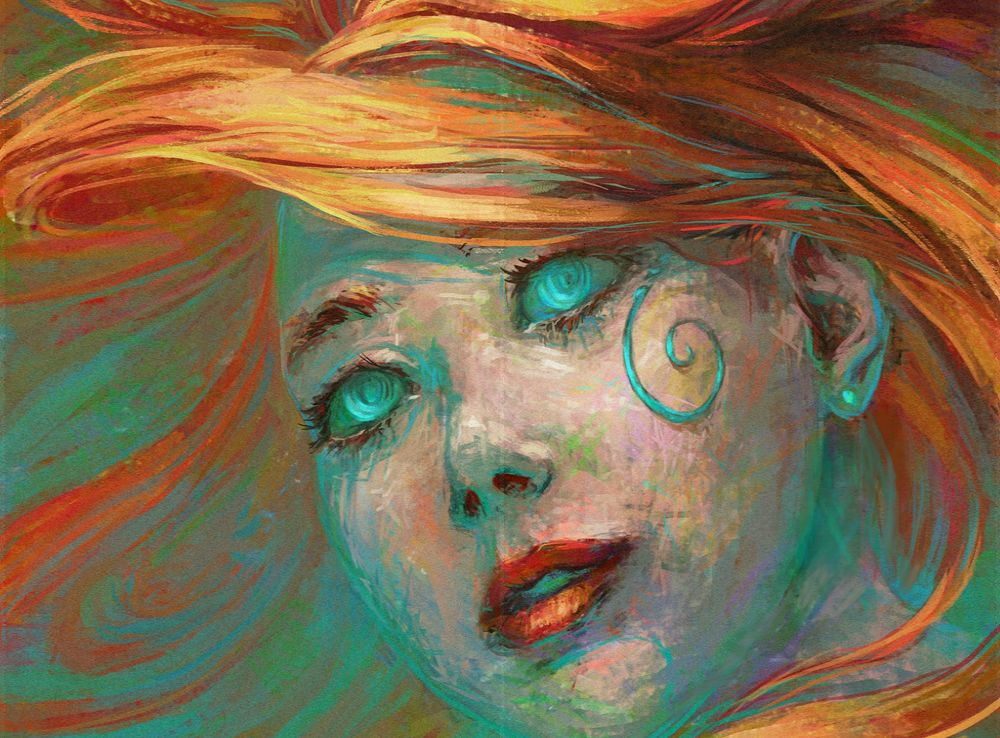Обои для рабочего стола Портрет девушки с бирюзовыми глазами и рыжими волосами, by Harkale-Linai