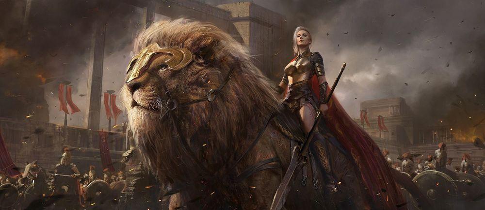 Обои для рабочего стола Воительница едет верхом на гигантском льве, в сопровождении воинов, по полуразрушенному древнему городу, by shuo SHI