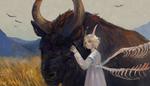 Обои Рогатая девушка с костяными крыльями стоит возле фантастического быка