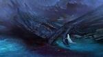 Обои Смертельно раненый черный дракон лежит в воде, рядом с ним женщина в белой одежде