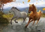 Обои Две лошади, несущиеся по воде, на фоне гор и падающих осенних листьев