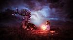 Обои Девочка с горящей лампой сидит в поле, ночью с оленем