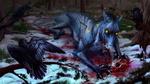 Обои Раненной стрелой монстр лежит на снегу рядом с сидящим на ветке вороном, by Alaiaorax