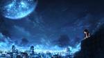 Обои Девушка смотрит на ночной город под ночным небом, в котором планета, by CZY