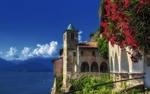 Обои Монастырь Santa Caterina del Sasso, Lombardy, Italy / Санта-Катерина-дель-Сассо, Ломбардия, Италия на берегу озера Lago Maggiore / Лаго-Маджоре