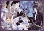 Обои Kanata Wakamiya и Luka Crosszeria с парнями на фоне полной Луны из аниме Uragiri wa Boku no Namae wo Shatteru / Предательство знает мое имя, art by Hotaru Odagiri