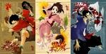 Обои Jin, Fuu и Mugen из аниме Samurai Champloo / Самурай Чамплу, art by Kazuto Nakazawa