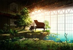 Обои Парень играет на пианино в заброшенной оранжерее