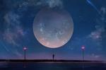 Обои Девушка стоит у воды на фоне ночного неба и огромной луны, by aoi ogata