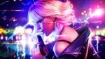 Обои Агент Lorraine Broughton / Лоррейн Бротон с пистолетом в руке на фоне летящих пуль и осколков стекла, из фильма Atomic Blonde / Взрывная блондинка, by AyyaSAP