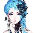 Обои Девушка-аниме с синими волосами и бабочками в них