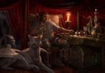 Обои Мужчина в латах с большим крылатым котом в своем кабинете