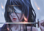 Обои Синеволосая девушка воин закрытыми глазами повязкой и мечом, by Diylion