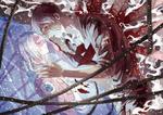 Обои Annie Leonhart / Энни Леонхарт с раненным парнем из аниме Shingeki no Kyojin / Вторжение гигантов