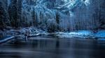 Обои Речка, текущая вдоль зимнего леса, на фоне скал, Yosemite National Park, USA / Национальный парк Йосемити, США