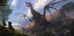 Обои Два путника смотрят на скелет огромного дракона, торчащего из скалы, by JonasDeRo