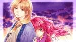 Обои Yona и Soo-won на фоне фиолетового неба из аниме Akatsuki no Yona / Рассвет Йоны, art by Mizuho Kusanagi