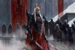 Обои Рогатый беловолосый предводитель с окровавленными мечами стоит в окружении жрецов в голубых масках