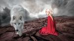 Обои Девушка в розовом платье сидит на земле и рядом белый волк, by Pascal Le Lay