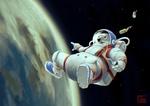Обои Белый медведь космонавт с банкой в космосе над землей (Beer / Пива), by Coinimus