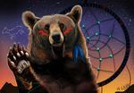 Обои Медведь на фоне звездного ночного неба и ловца снов, by KahlaWolf