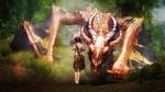 Обои Девушка-воин, с мечом за спиной, прикосается рукой к голове дракона