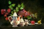 Обои Чайный сервиз, овощи и фрукты на фоне ветки калины
