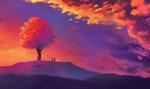 Обои Парень с девушкой стоят поодаль дерева на фоне облачного неба, by AuroraLion