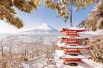 Обои Пагода буддийского храма Senso-ji / Сэнсо-дзи с видом на гору Fuji / Фудзияма зимой, Japan / Япония