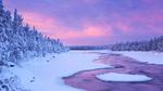 Обои Река в окружении зимнего леса, Лапландия, Финляндия / Lapland, Finland на рассвете, автор csp_sara_winter
