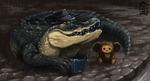 Обои Чебурашка и крокодил Гена с гармошкой в шляпке под дождем, by Brevis-art