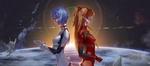 Обои Ayanami Rei / Аянами Рэй и Asuka Langley / Аска Лэнгли стоят на фоне космоса, из аниме Evangelion / Евангелион