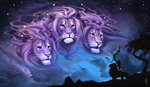 Обои Силуэт льва Mufasa / Муфаса и Rafiki / Рафиики смотрят на небесных сиреневых трехголовых львов в небе из мультфильма The Lion King / Король Лев, by Brevis-art