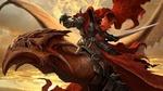 Обои Берсерк с мечом на драконе огня в небе, из игры Time of Dragons / Драконы Вечности