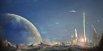Обои Космонавт смотрит на фантастический город