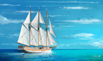 Обои Белый парусник на воде, by Shellz - art