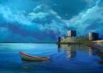 Обои Лодка дрейфует на воде, by Shellz - art